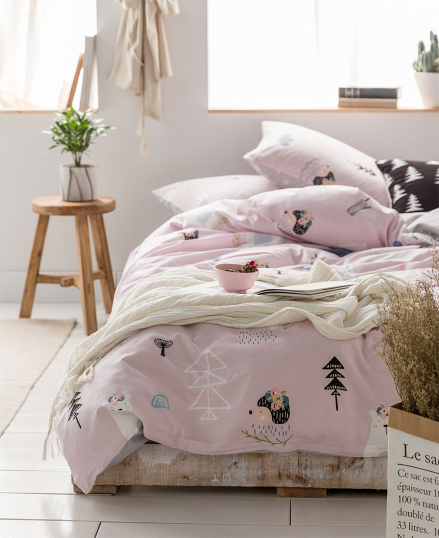 Mignon de bande dessinée animaux parure de lit enfant adolescent, lits complet reine coton simple double textile de maison drap de lit taie d'oreiller housse de couette