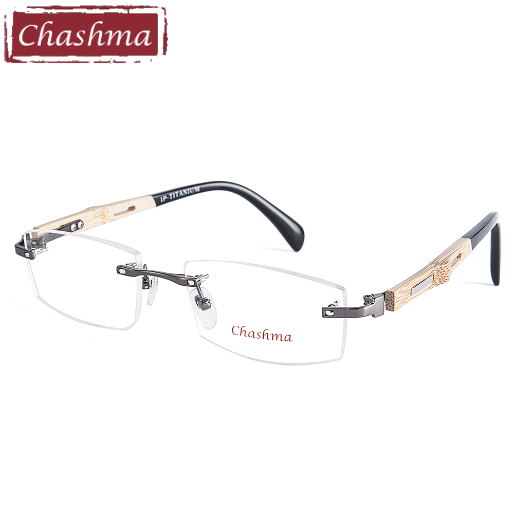 Chashma Brand Pure Titanium Eye Glasses Bamboo Wood Glasses Frames Men Men Rimless träglasögon