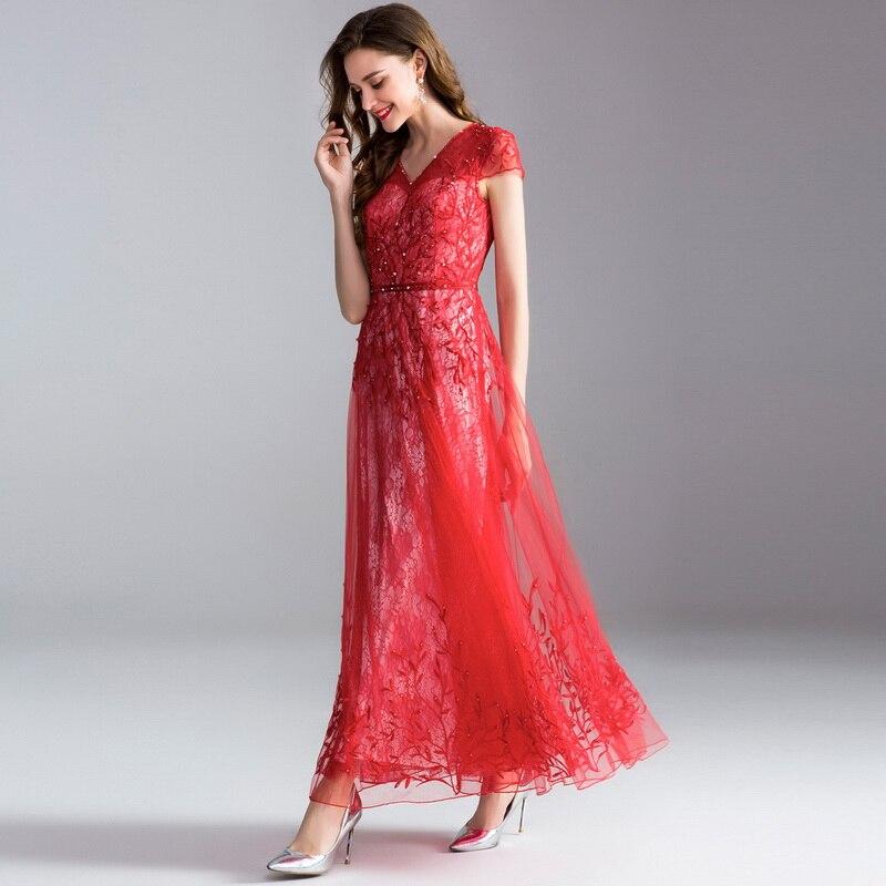 Dames Clair V 2018 Rouge Robe Sexy Femmes Pink Broderie En Top Rose Luxe Parti Longo Dentelle Perles Maxi red Qualité Nouveau Col Mariage gwn4q0PT