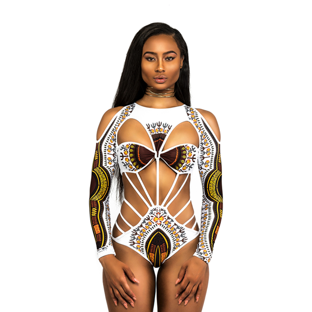 2aeeb25a7a Africa Style 3D Print One Piece Women Swimsuit Sexy Swimwear Floral Bikini  Sets Long Sleeves Bandage Monokini Slim Bathing Suits-in Body Suits from  Sports ...