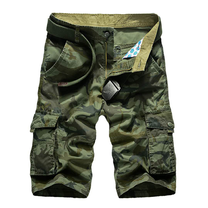 Camouflage Shorts Work-Breeches Many-Pockets Military Male Summer Casual Loose Men
