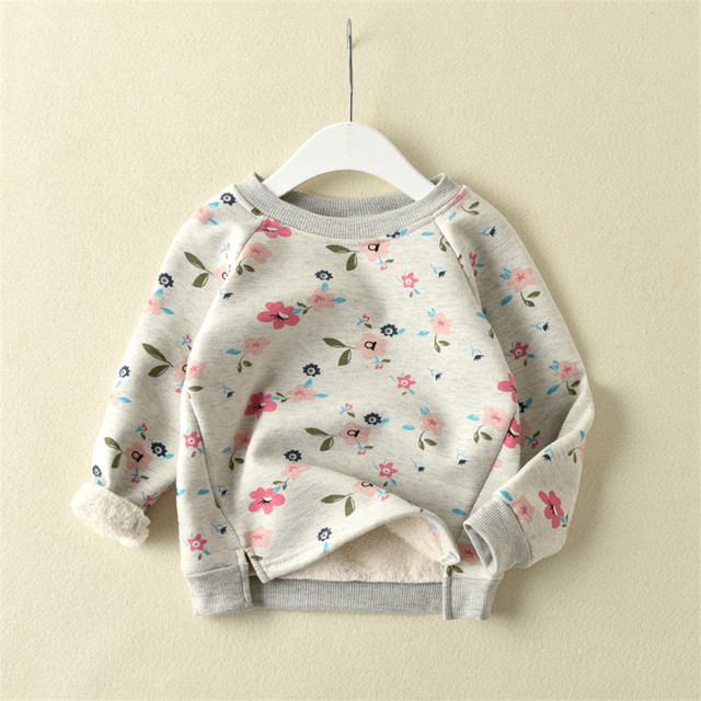 2017 Autumn winter better flowers round collar thickening private label fleece backing warm T-shirt unlined upper garment