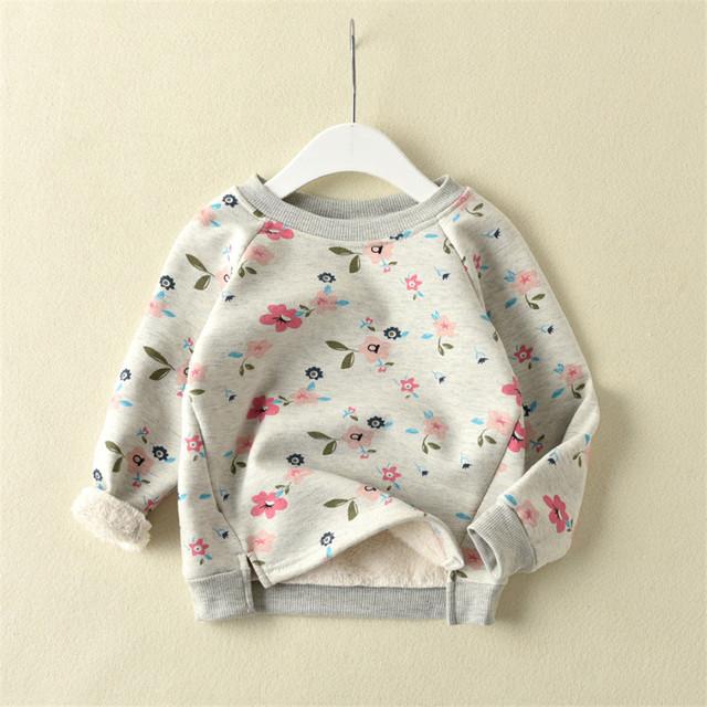2017 Outono inverno melhor flores gola redonda espessamento private label T-shirt vestuário superior sem forro de forro de lã quente