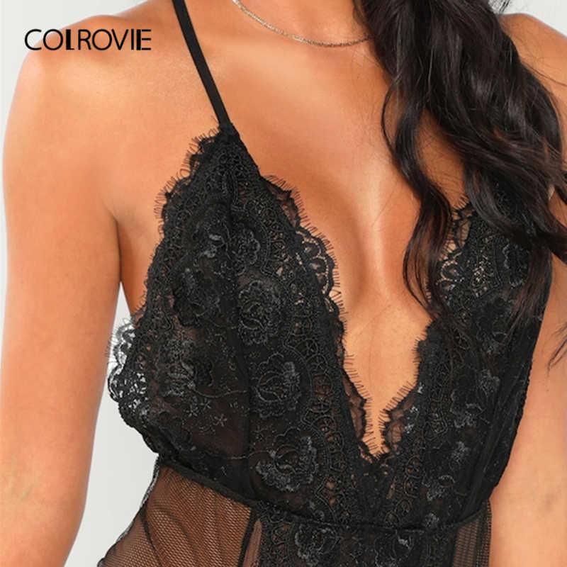 COLROVIE черный однотонный прозрачный Cami обтягивающее кружевное сексуальное боди для женщин 2019 Модные женские боди без рукавов цельный клубный боди