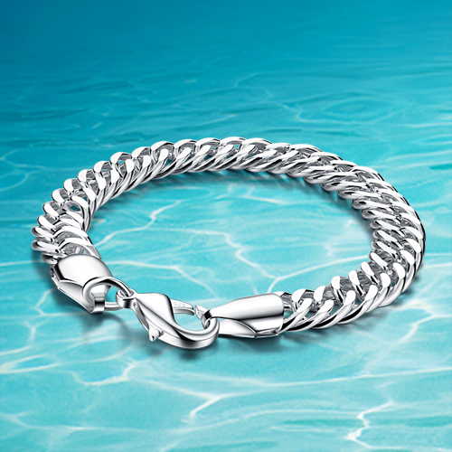 Hot sale!!!925 sterling silver jewelry bracelet men thick genuine solid silver bracelet men; Woven chain width 10mm