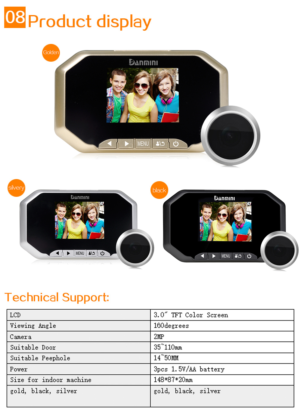 Back To Search Resultshome Improvement Door Hardware & Locks Danmini 3.0 Inch 160 Degree 2.0mp Professional Viewer Digital Hd Lcd Peephole Viewer Camera Color Screen Door Eye Video Recordin