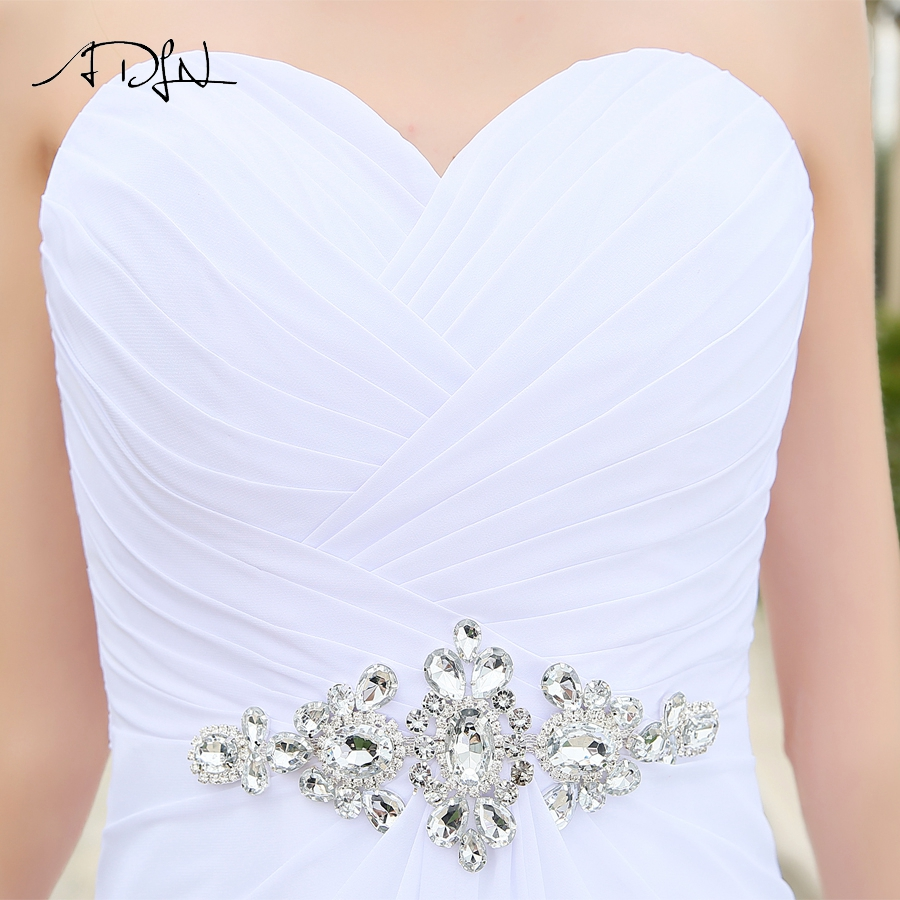 Image 5 - ADLN Real Model Beach Wedding Dress Sweetheart Pleats Crystal  Belt Chiffon Wedding Dresses Plus Size robe de mariee Lace up  BackWedding Dresses
