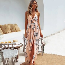 Womens Sling V-neck Chiffon Print Dress Sexy Split Beach
