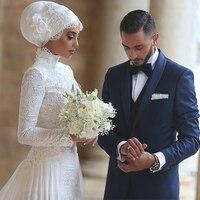 High Neck Long Sleeves Lace Modest Vestito Da Sposa Muslim Wedding Dresses Vestido De Noiva Saudi Arabia Bridal Dresses 2017