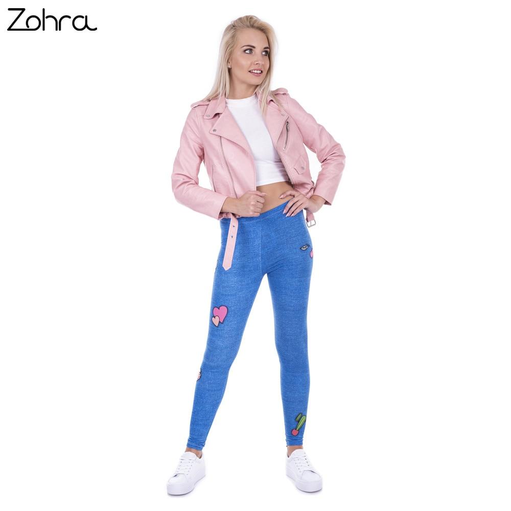Zohra moda Legging mujer Gang Jeans diseño Legins Denim azul Leggins ... f7e8fefddcbc