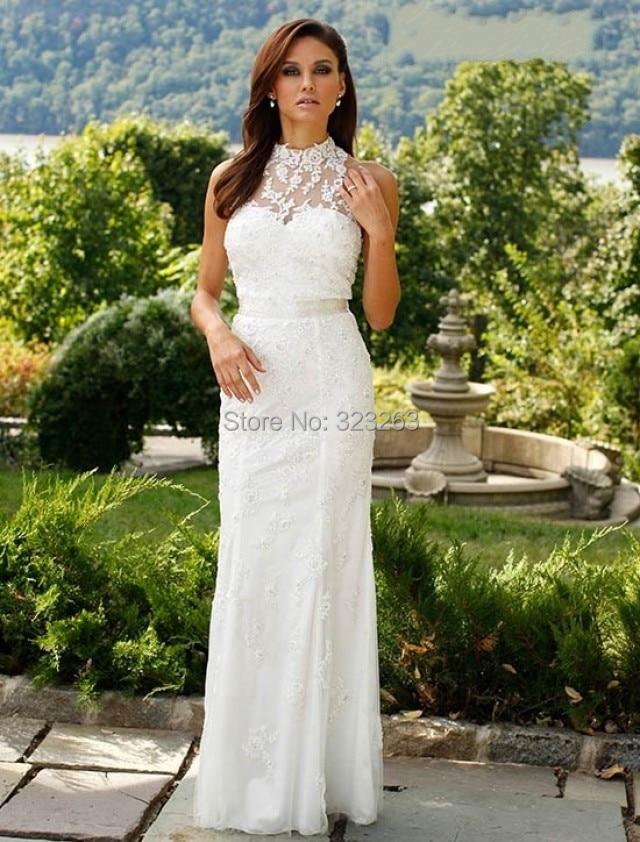Fashion new sheath casual lace bridal wedding dresses high for Casual sheath wedding dresses