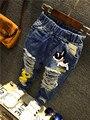 2016 Весна Детей Джинсы мальчиков малыша брюки Брюки Мультфильм Случайные Джинсовые Брюки Мальчика Джинсы для 2-6 лет