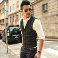 Black Plaid Men Autumn And Winter Vests Casual Fashion Men'S Waistcoats Colete Masculine Slim Version Vest Male A2809
