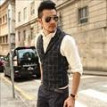 Black Plaid Men Autumn And Winter Vests Casual Fashion Men'S Waistcoats Colete Masculine Slim Version Vest Male A2809