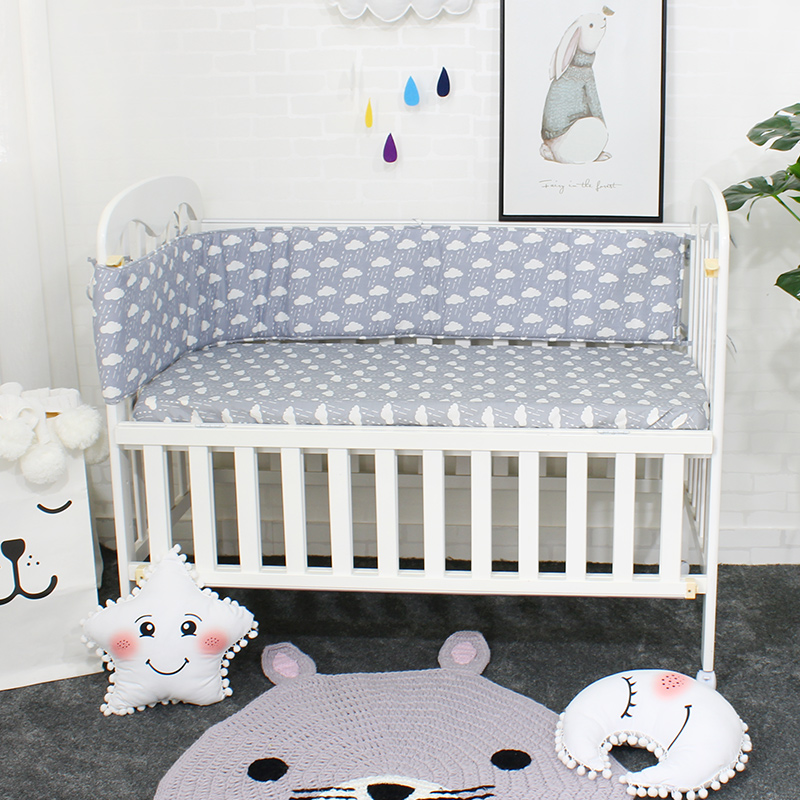 Baby Bumpers In the Crib For Newborn Cotton Linen Cot Bumper Baby Bed Protector Cortch To The Cot 5 Colors 200cm Length ...