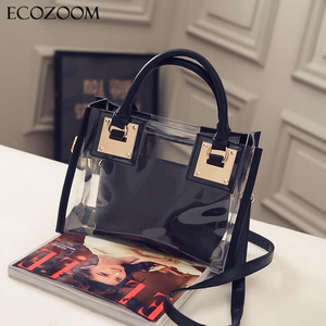 Europe Fashion Women Transparent PVC Handbag Summer Sweet Lady Jelly Clear Plastic Beach Bag Candy Color Shoulder Bags Tote Bag