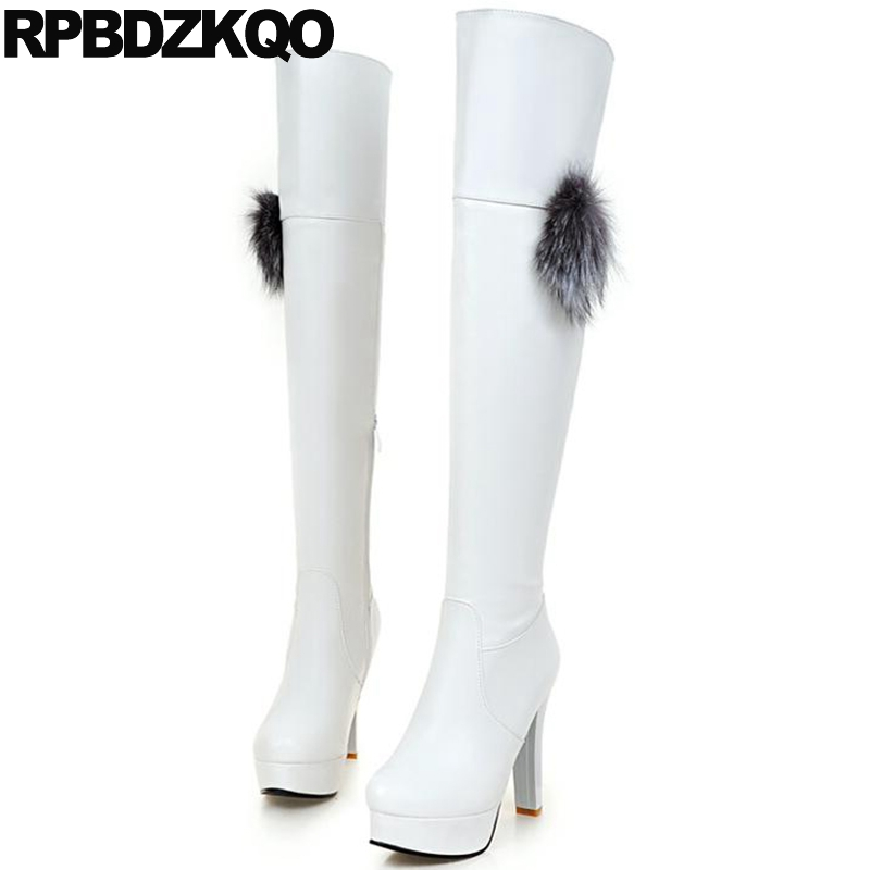 White High Heel Shoes Cheap Pom Poms Thigh Boots For Plus Size Women 10 Over The Knee Chunky Sexy Fetish Faux Fur Extreme 2016 brand new winter sexy women thigh high fur boots black gray lady over the knee shoes chunky heel etc02 plus big size 10 43