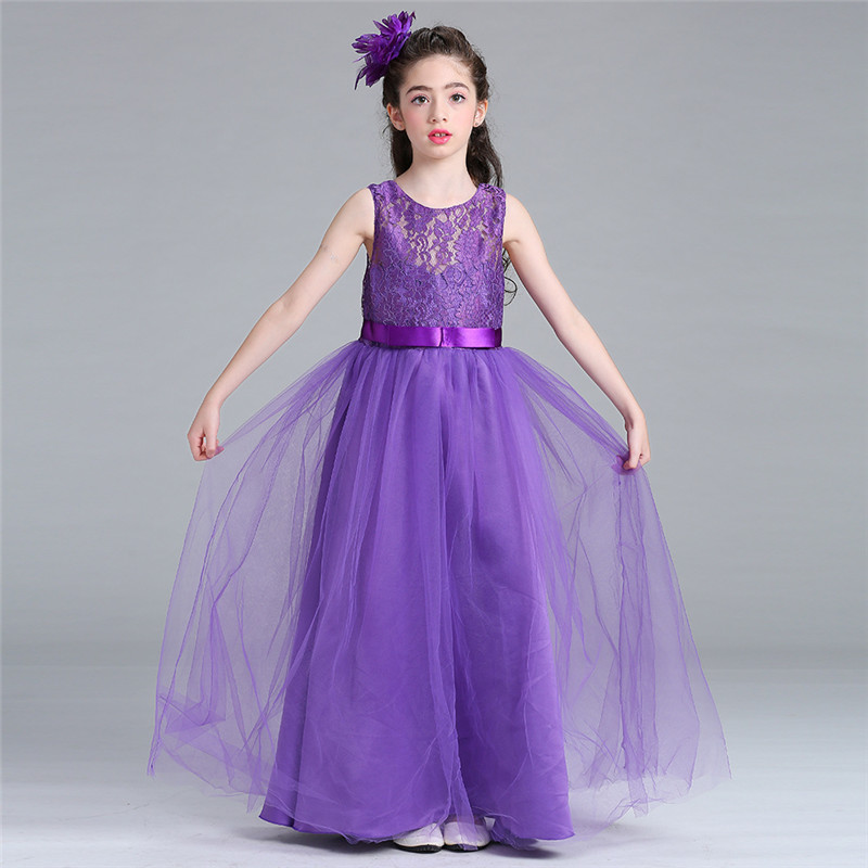 Fashion Child Princess Wedding Bridesmaid Long Dress Mesh Flower Pattern Girl Dress 12 14 Years Kids Clothes Party Tutu Dress summer princess wedding bridesmaid flower girl dress for child wear kids clothes white party tutu dresses for girl 3 12y