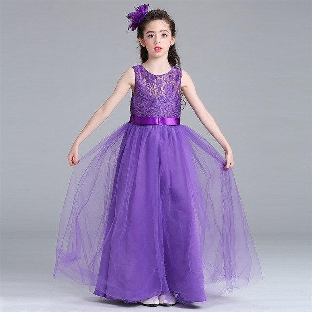 55a8c3ae4 Fashion Child Princess Wedding Bridesmaid Long Dress Mesh Flower ...