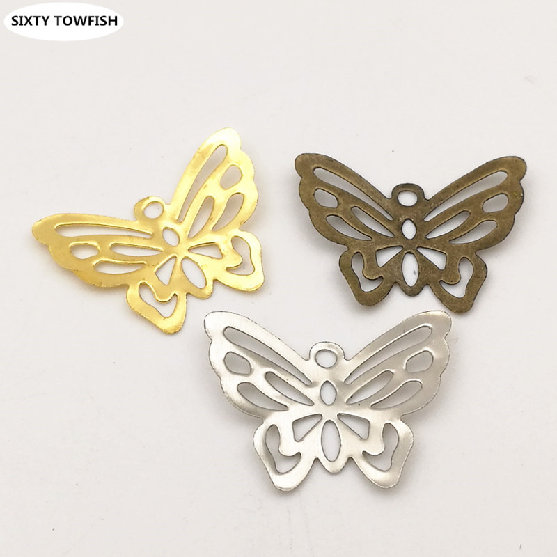 50pcs/lot 21*17mm Gold color/White K Metal Filigree Flowers Slice Butterfly Charms Pendant Base Setting DIY Components B12086