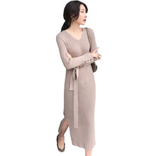 Knit Dress Long Autumn Winter Sleeve V Neck Sashes Side Split Sweater Women Vintage Striped Dresses 2019 New