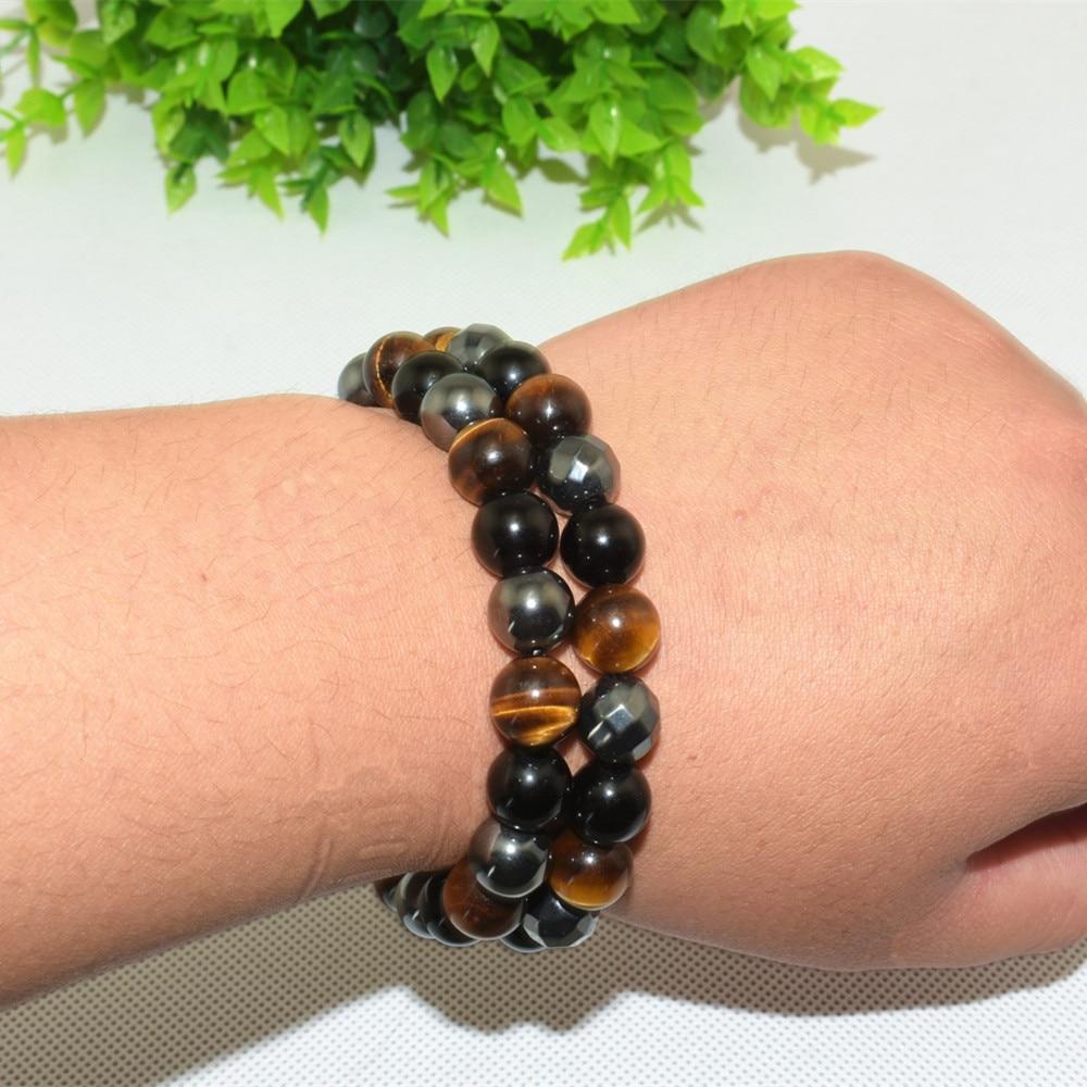 Men Bracelets Bangle Natural Stone Bracelets For Women 10MM Tiger Eye & Hematite & Black Obsidian Natural Stone Bracelet