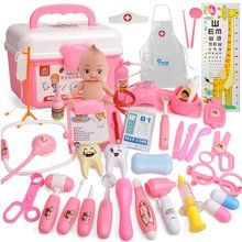 Kids Toys Doctor Set Baby Suitcases Medical kit Cosplay Dentist Nurse Simulation Medicine Box with Doll Costume Stethoscope Gift