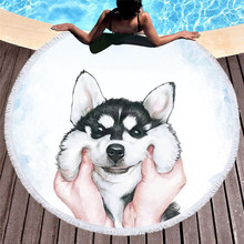 Round Beach Towel for Kids Adults Cute Dog Cartoon Printed Tassel Yoga Mat Large Microfiber Toalla Blanket strandlaken