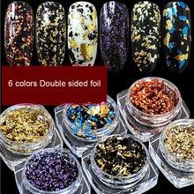6 piece Multicolor Glitter Flakes Set/ Nail Art / colors Double-S Irregular Sequins Chrome Pigment