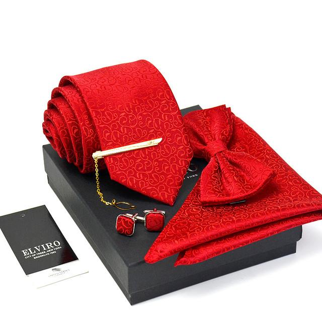 Regalo 7 cm Pajaritas de Los Hombres de alta calidad 3 o 5 Sets moda Clásica Corbata Tie clip de Bolsillo cuadrado Mancuernas Contador embalaje