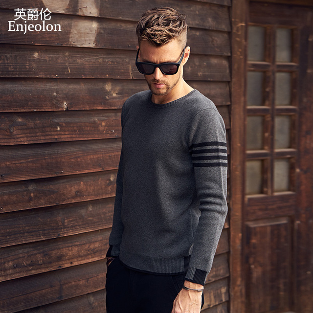Enjeolon Winter Men Pullover Slim Sweaters  Cotton Sweater For Men Fashion O neck Sweater Male Casual Pullover Sweater MY3222