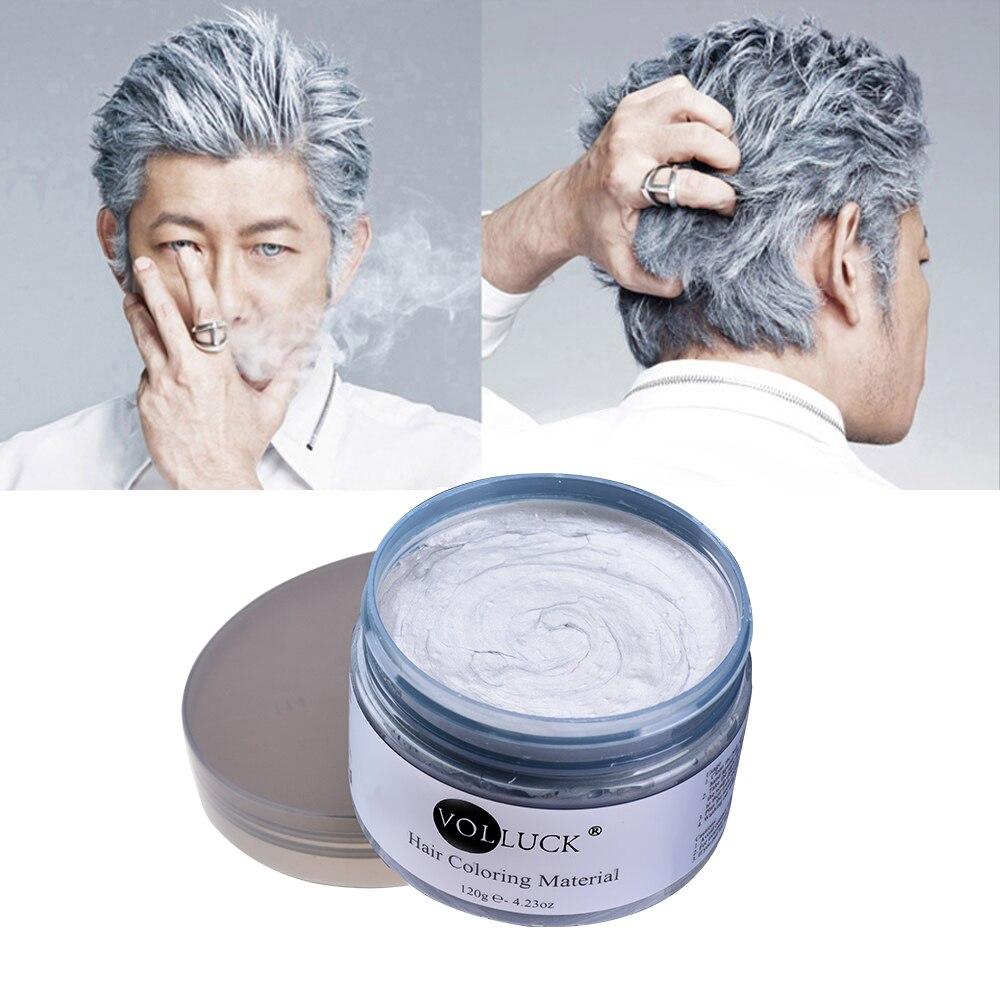 ᗑ】Color de pelo Cera estilo pomada plata abuela gris temporal ...
