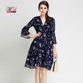 969112050aa MLinina новое летнее женское шифоновое платье с цветочным принтом  Повседневные Вечерние Элегантные европейские узкие рукава до