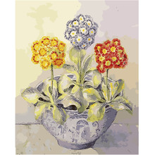 WEEN Three hydrangea flowers-DIY oil paint by numbers for kid,Hand-painted canvas painting kit,Acrylic Paint 40X50CM
