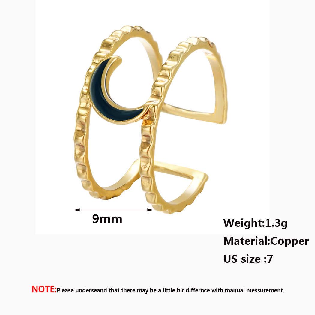 Cxwind สีดำดวงจันทร์แหวน Dainty แหวนสำหรับ Women Boho Gold สายคู่แหวนเครื่องประดับของขวัญ