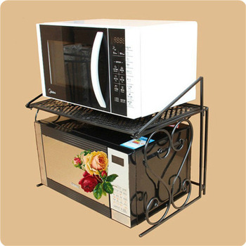 Iron Microwave Oven Shelf Multipurpose Rack With Double Layers Kitchen Storage Bathroom Organizer ZA4635