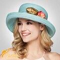 2016 Nova Flor Do Verão Fêmea Sol-shading Chapéu de Palha Trança Ccia Plana Grande Chapéu Ao Longo Da Tampa Exterior B-2296