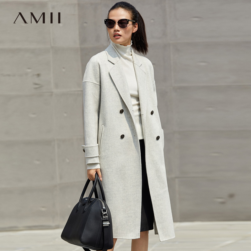 Amii 100 Woolen Coat Women Autumn 2018 Causal Solid Belt Double breasted Double sided Coat Female