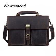 NEWEEKEND 1031 Vintage Casual Genuine Leather Crazy Horse 15 Inch Handbag Briefcase Shoulder Crossbody Laptop Bag
