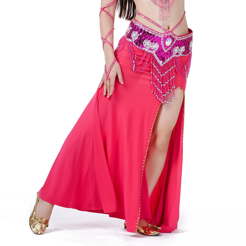*High Quality Sexy Professional Women Belly Dance Costume With Slit Modal Cotton Skirt Dress Solid Colour Dress H