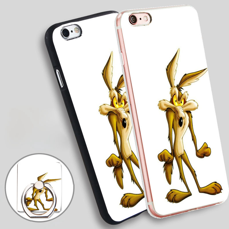 Cartoon Wile E Coyote Clear Phone Ring Holder Soft TPU Silicon Case Cover for iPhone 4 4S 5C 5 SE 5S 6 6S 7 Plus