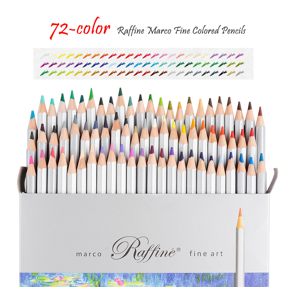 Raffine Fine 72 Colors Art Drawing Pencil 7100-72CB Set Non-toxic ASTM Wooden Writing Painting Artist Sketching Craft Doodling D