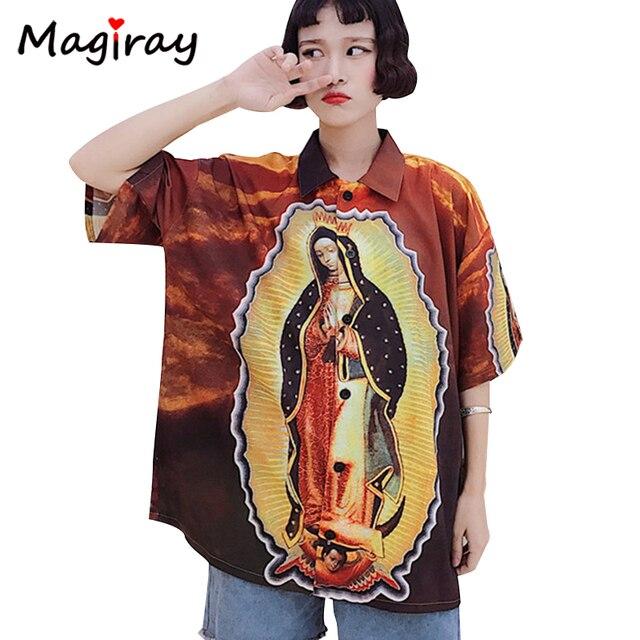 373e79ca528 Magriay Harajuku Character Virgin Mary Print Women Blouse 2019 Short Sleeve  Oversize Loose Top Plus Size Female Shirt Couple 384