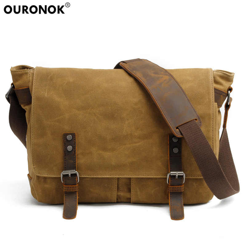 6db83286c Detail Feedback Questions about OURONOK Casual Travel Men's Canvas  Crossbody Leather Bag Vintage Luxury Laptop Military Shoulder Unisex  Fashion School Bags ...