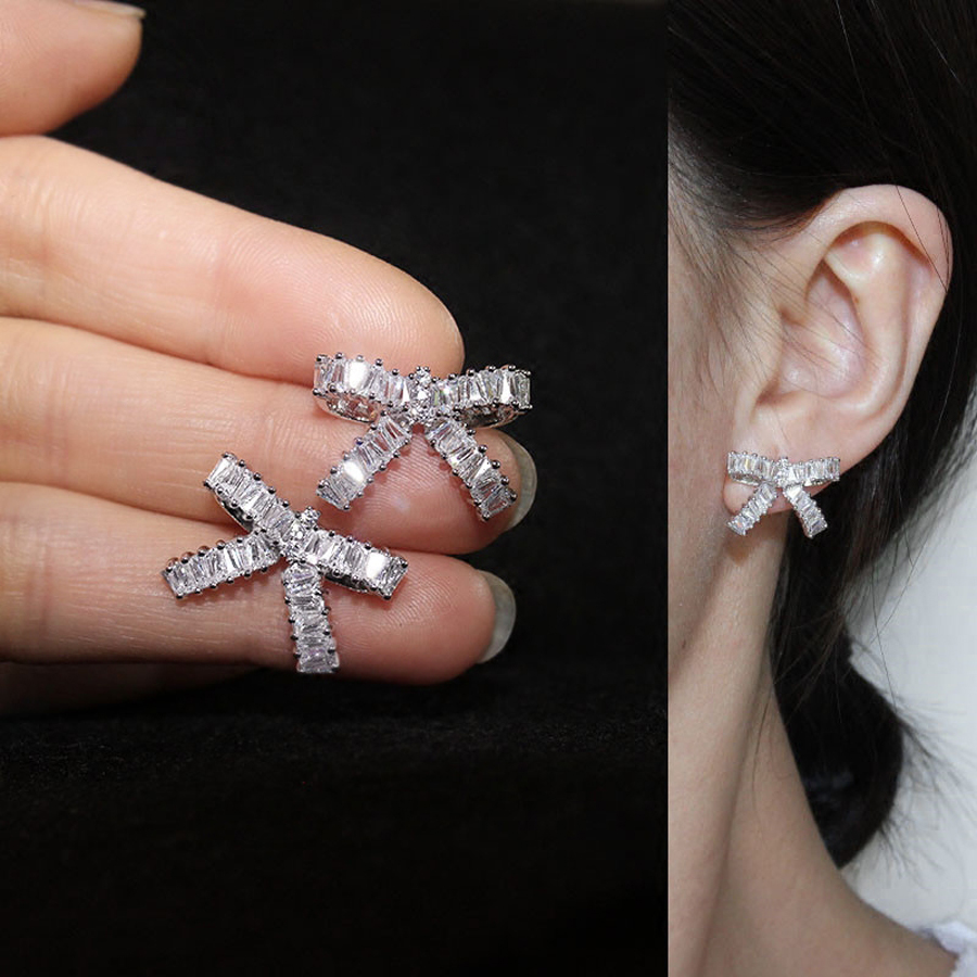 lovely bowknot design white gold color pated fashion stud earrings for women cz stone jewelry wedding accessories gift