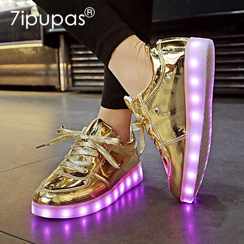 7 nuevos ipapas Homme luminous sneakers boys girls chaissures Lumineuse 11 colores Gold Led Zapatos Niños brillante Casual Unisex 30-44