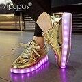 Светящиеся кроссовки 7ipupas Homme для мальчиков и девочек  обувь с подсветкой золотого цвета для мальчиков и девочек  повседневная светящаяся об...