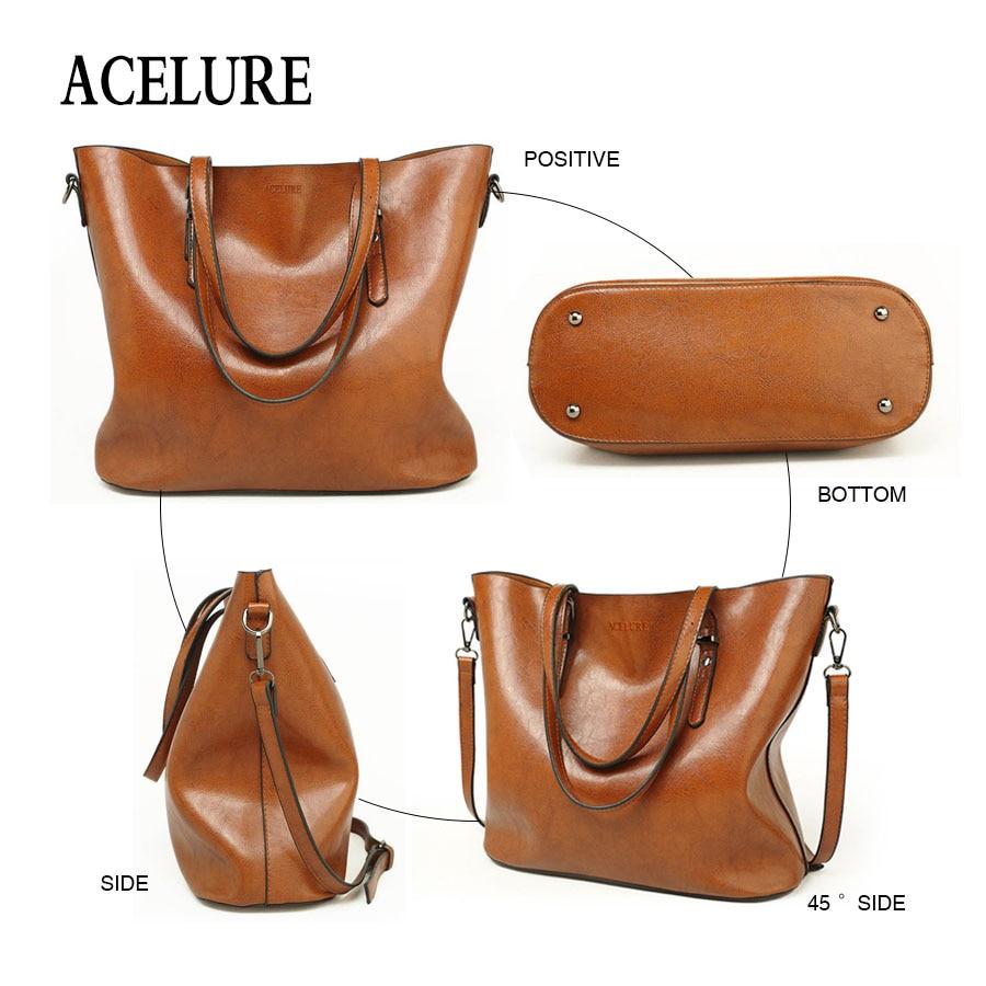 ACELURE Women Shoulder Bag Fashion Women Handbags Oil Wax Leather Large Capacity Tote Bag Casual Pu Leather women Messenger bag  3