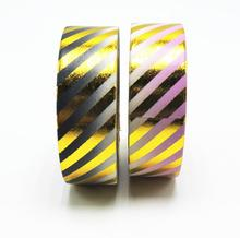 Line Pattern Foil Washi Tape 10Meter Scrapbooking Tools Cute Decorative Japanese Stationery Washi Tapes Mask