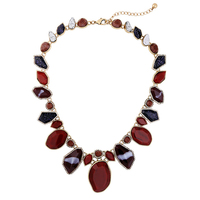 Rebel Red Tiger Eye Statement Necklace Coffee Agate Antique Gold Color Collar Choker